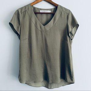 Contemporaine Simons Flowy Army Green Shirt